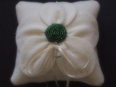 Ring Bearer Pillow Green Ivory  Wedding posey flower choose your colors  by ArtisanFeltStudio, $42.00