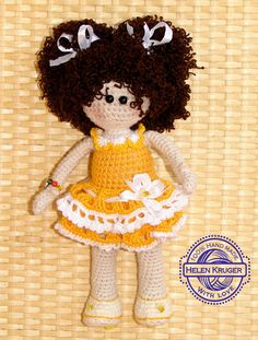 Doll Crochet Handmade doll brown hair Cute doll Curls Soft doll yellow dress Rag doll stuffed toy amigurumi child birth gift for girl doll