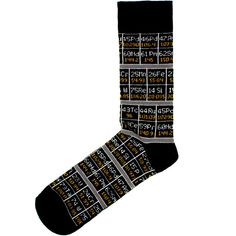 These cotton socks feature details from the Periodic Table; a handy reference, and perfect for those who like to dress intelligently from head to toe. Science Gifts, Bath Soap, Cat Mug, Stocking Fillers, Cotton Socks, Head To Toe, Periodic Table, Great Gifts, Stockings