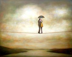 """""""La più fragile di tutti su quel filo stava portando ciascuno di loro lassù, a considerare quanto fossero fragili. L'unica forza per stare in equilibrio sul filo della vita è il peso dell'amore""""  [""""Cose che nessuno sa"""" Alessandro D'Avenia]    (Img: Duy Huynh, One step at a time)"""