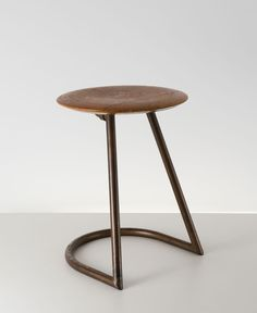 Anonymous; Tubular Metal and Beech Stool by Hohenloher Schulmöbel und Turngerätefabrik, 1930s.