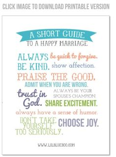 A Short Guide to a Happy Marriage (free printable version now available) via lilblueboo.com #gifts #wedding #diy