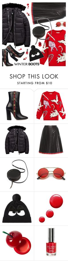 """So Cozy: Winter Boots"" by the92liner ❤ liked on Polyvore featuring Gucci, Paul & Joe, Sara Barner, ZeroUV, Mini Cream, Topshop, TONYMOLY, Chico's and winterboots"