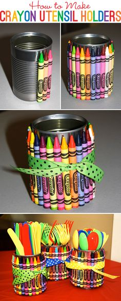 DIY How to make crayon utensil holders...could use in the classroom to hold teacher supplies or for parties to hold utensils.  Just gives such an added pop of color  whimsy! @Lori Bearden Bearden Bearden Eagan Williams you've been posted art party stuff this would be cute!