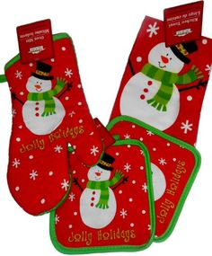 4 piece snowman christmas holiday set with potholders oven mitt towel great holiday