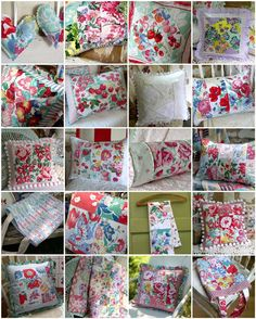 Pillows made from vintage tablecloths