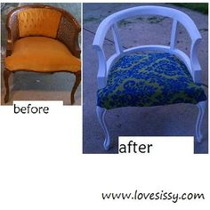 vintage chair makeover, unconventional, used dremel to remove back thatching & padding, painted white gloss, recovered seat with vintage curtains (inside out) lovesissy