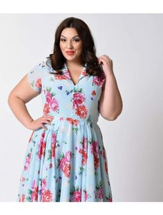 Hell Bunny Plus Size 1950s Blue Floral Cap Sleeve Bloomsbury Chiffon Swing Dress