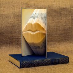 Lips sillhouette folded book art-Personalized Wedding Gift- book art- book origami - kiss - mouth - gift for wedding - E180