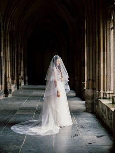 Horse Ribbon Lined Layered Cathedral Length Long Bridal Veil