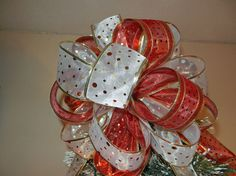 Lg Christmas Tree topper bow made of a red and by creativelycarole
