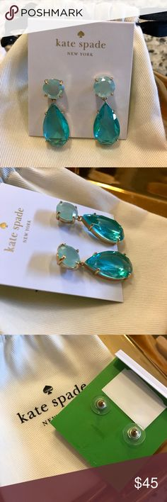"""Kate Spade """"Here Comes The Sun"""" Drop Earrings A double drop of multi-faced stones. Gold-tone mixed metal with blue stones. Approximate drop of 1"""". Brand new with Kate Spade drawstring bag. kate spade Jewelry Earrings"""