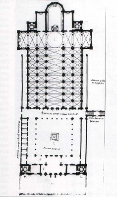 Reconstruction of Bernardo Rosellino's  project for St Peter's.  The ancient basilica is  transformed by a new  and deep choir flanked by chapels; the naves are covered by cross- vaults, according to  architectonic tradition  of Cistercian, Medieval  and 15th century orders.  Martino Ferrabosco - Gracomo Grimaldi L'Architectura della Basilica di San Pietro. Storia e Costruzione, edited by G. Spagnesi,  Rome 1997 (715×1200)