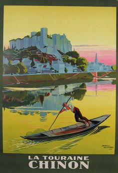 V intage Travel Poster - La Touraine Chinon - France - by James Richard - 1926.