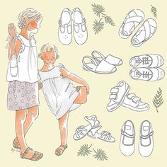 * quel dilemme ! * what a dilemma! #bensimon #minorquines #espadrilles #girlsandals #pepechildrenshoes #shoesforkids #toddlershoes #bybm #bybmillustration #childhoodillustration #illustrator #illustratrice #illustrateur #illustration #dessin #draw #dilemme #dilemma