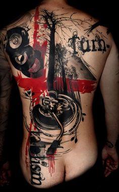 realistic_trash_polka by Buena Vista Tattoo - Würzburg Et Tattoo, Tattoo Style, Tattoo You, Back Tattoo, Club Tattoo, Lettering Tattoo, Sketch Tattoo, Tattoos Musik, Music Tattoos