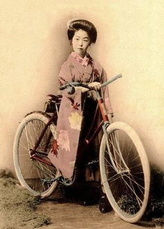 "Cycling in a kimono. Ca.1905-10 studio view. This is only one of many such ""Geisha with a Bicycle"" images that may be found from the late Meiji-era."