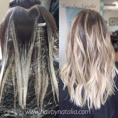 How to balayage. Balayage in Denver. www… How to balayage. Balayage in Denver.hairbynatalia… More from my site Beautiful blonde Ashy Blonde Balayage, Hair Color Balayage, Hair Highlights, Blonde Hair, Ombre Balayage, Reverse Balayage, How To Balyage Hair, Short Balayage, Color Highlights
