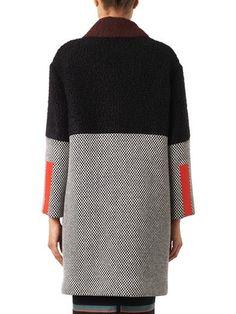 Fendi Contrast-panel wool coat