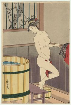 Kiyonaga (1752 - 1815) Japanese Woodblock Reprint   Woman at the Bath