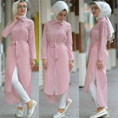 Open dress with jeans hijab style – Just Trendy Girls: www.justtrendygir… Open dress with jeans hijab style – Just Trendy Girls: www. Modern Hijab Fashion, Hijab Fashion Inspiration, Islamic Fashion, Abaya Fashion, Muslim Fashion, Modest Fashion, Fashion Outfits, Hijab Style Dress, Casual Hijab Outfit
