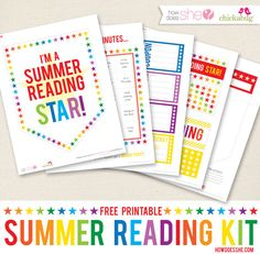 "Free printable ""Summer Reading Kit"". Kids fill out Banner Flags for books they've read, Bingo cards (with spaces to fill in if they read: in the bathtub, with a hat on, under a tree, etc) and coupons to earn for prizes you decide (ice cream sundae, trip to mini golf, movie, etc.). Must sign up for How Does She email list."