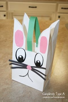 Pre-school Easter craft -- Bunny bag with cotton ball tail