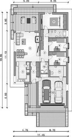 Rzut parteru projektu Pliszka VII Container House Design, House Plans, Floor Plans, Home And Garden, Layout, Flooring, How To Plan, Home Decor, Architectural House Plans