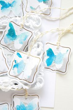 Gift tags Blue Watercolor butterfly embellishment by nerolisky
