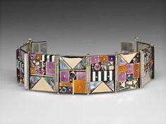 Earl Pardon: Panel Bracelet #1275. Sterling silver, 14 kt gold, enamel, ebony, ivory, spinel, amethyst, mother of pearl