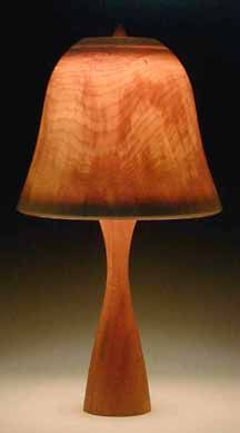 Wood Lamp Shade Peter Bloch Lightly Streaked Bell With Pilsner Base Turnings Lamps Crafts