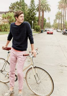 J.Crew men's rugged cotton sweater, broken-in T-shirt, Bowery slim pant in linen-cotton oxford and Sperry® for J.Crew Authentic Original 2-eye broken-in boat shoes.