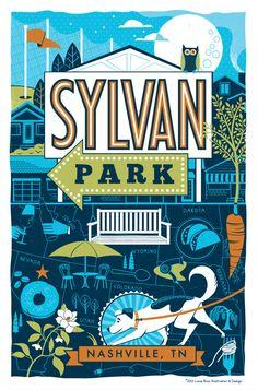 Whimsical Nashville Neighborhood Series - Sylvan Park by Lucie Rice