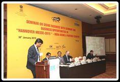 Shri Chellappa Sriram, CII Representative making address on Opportunities for Indian Industry at Hannover