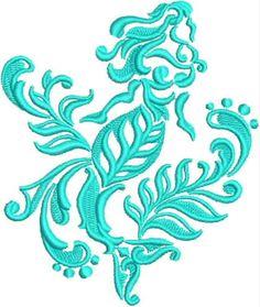 Embroidered Towel - Damask Mermaid