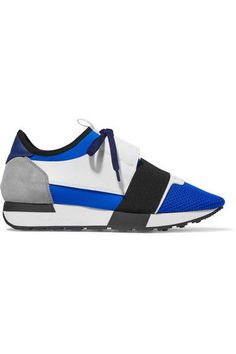 Balenciaga - Race Runner Leather, Mesh And Neoprene Sneakers - Blue - IT36