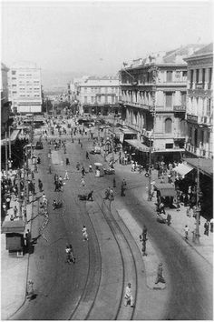 and Omonoia square in Athens, during the german occupation… Greece Pictures, Old Pictures, Old Photos, Vintage Photos, Athens History, Greece History, Athens City, Athens Greece, Old Greek