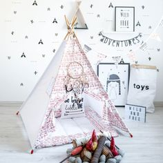 This item is made to order. It takes 2 - 3 weeks. We will do our best to get your item out to you as soon as possible!  A beautiful play space for your children is the best way to explore their imagination, it's a cosy personal space for reading and dreaming. Decorate your photo session or give endless hours of fun to your child! Teepee is the perfect addition to a stylish playroom. This teepee is made with 100% cotton fabric. This so easy to use, just insert your poles and tie them steady…