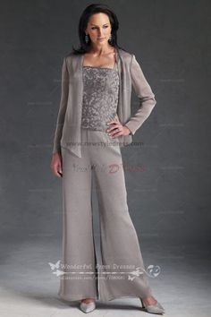 cheap three piece Chiffon mother of the dress pant suits with lace nmo-030