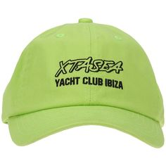 Embroidered Cap (250 RON) ❤ liked on Polyvore featuring accessories, hats, neon green, cap hats, neon green hat, embroidery caps, embroidered caps and cotton cap