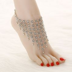 Vintage silver Plated chain ankle hollow flower foot jewelry anklets for women summer barefoot sandals femme tassle anklets Sterling Silver Anklet, Silver Anklets, Silver Jewelry, Silver Earrings, Silver Bracelets, Silver Ring, Anklet Jewelry, Bridal Jewelry, Anklet Designs