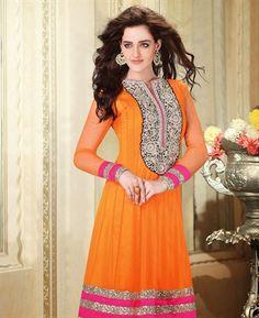 Rich Deep Orange, Pink Net Ready Made Anarkali Salwar Suit Pakistani Outfits, Indian Outfits, Indian Clothes, Pakistani Clothing, Wedding Salwar Kameez, Indian Sarees Online, Anarkali Dress, Anarkali Churidar, India Fashion