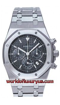 """26300ST.OO.1110ST.03 - Brushed finished Stainless Steel case & bracelet with polished bevel edges. Metallic Black dial with an engraved tapestry """"waffle"""" design. - See more at: http://www.worldofluxuryus.com/watches/Audemars-Piguet/Royal-Oak/26300ST.OO.1110ST.03/62_63_3158.php#sthash.KDGEFTeF.dpuf"""