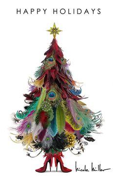 me gusta la idea de un arbol de navidad hecho de plumas bonitas