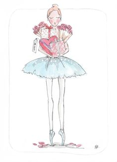 Ballet Valentine Hers - Ballet News World Exclusive illustration by Noemi Manalang