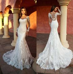 Beautiful Trumpet Wedding Dress / Bridal Gown with Long Sleeves and the Train by Nora Naviano 41 Elegant Gorgeous Unique Wedding Dresses With Incredible Elegance Country Wedding Dresses, Long Wedding Dresses, Long Sleeve Wedding, Princess Wedding Dresses, Wedding Dress Styles, Bridesmaid Dresses, Lace Trumpet Wedding Dress, Lace Wedding Dress With Sleeves, Cinderella Wedding