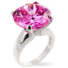 Pink Tourmaline Sterling Silver Cocktail Ring Size 7 10 Cubic Zirconia Big Round #Solitaire