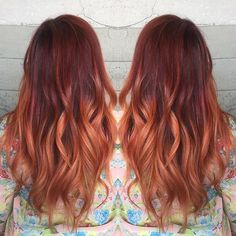 Client loving red color melt by Leslie Austin. #hotonbeauty red hair redhead facebook.com/hotbeautymagazine balayage ombre