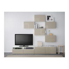 BESTÅ TV storage combination - white/Selsviken high-gloss/beige, drawer runner, soft-closing - IKEA
