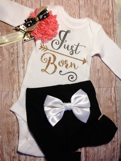 just born baby girl coming home outfit take home by SweetnSparkly